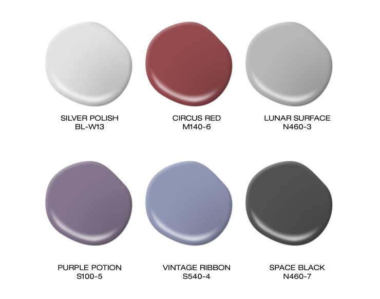 A color palette showing paint blobs in white, red, gray, purple, blue, and soft black.