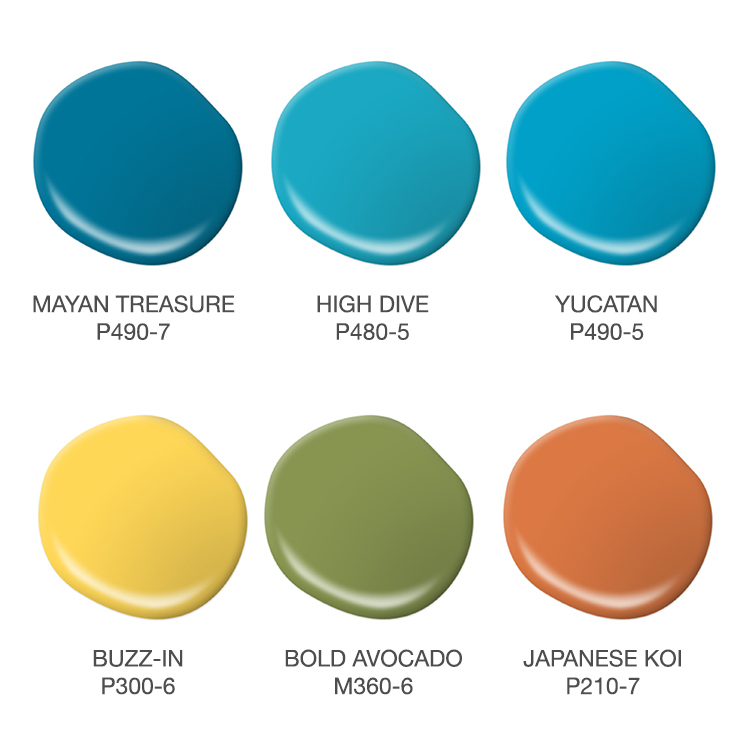 A color palette showing paint drops in various shades of blue, yellow, green, and orange.