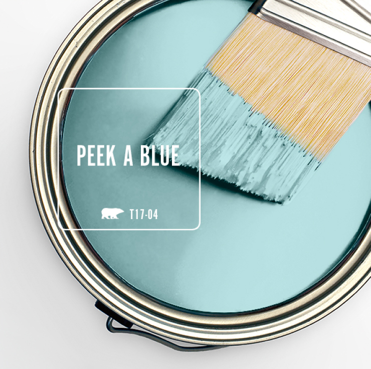 Paint Swatch - Open paint can with paint brush that was dipped showing paint color for: Peek a Blue