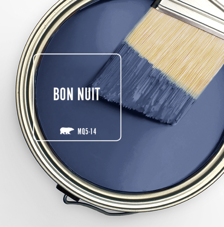 Paint Swatch - Open paint can with paint brush that was dipped showing paint color for Bon Nuit