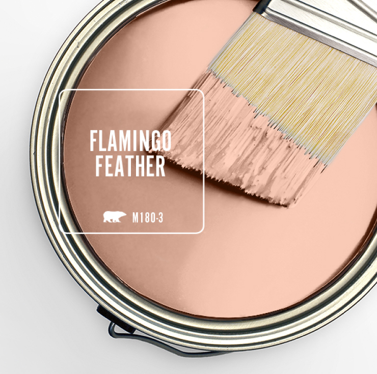 Paint Swatch - Open paint can with paint brush that was dipped showing paint color for Flamingo Feather