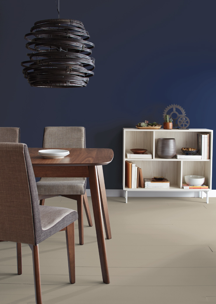 A dining area with the walls painted in Bon Nuit