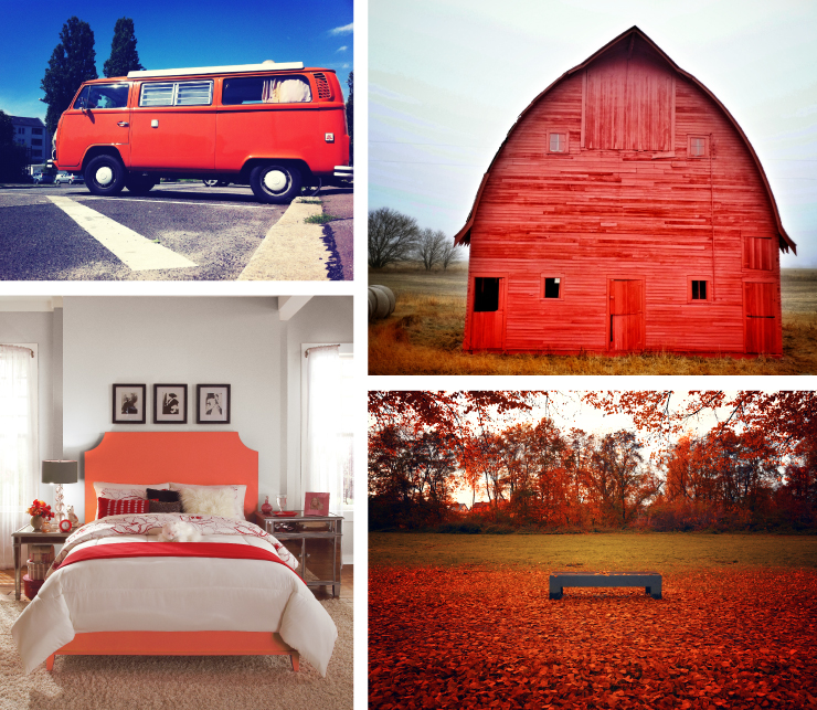 A collage of images representing the paint color: Pimento