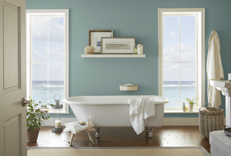 A bathroom painted in the color: In The Moment.
