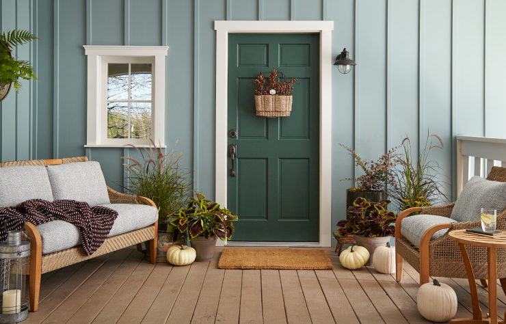 An exterior home entry porch with the walls painted in In The Moment.