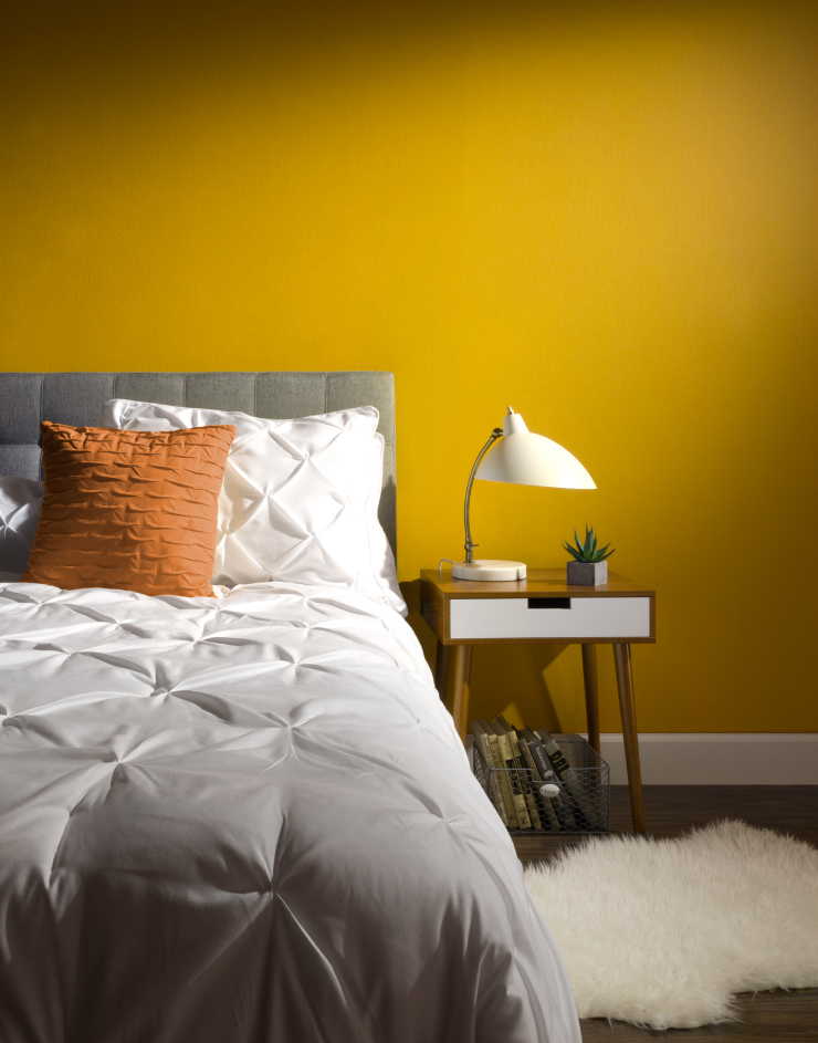 Mid century modern bedroom that features the color Life is Good T18-05.