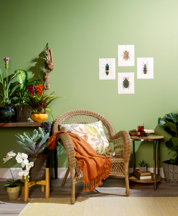 A sitting area in a garden themed with walls painted in Nurturing.