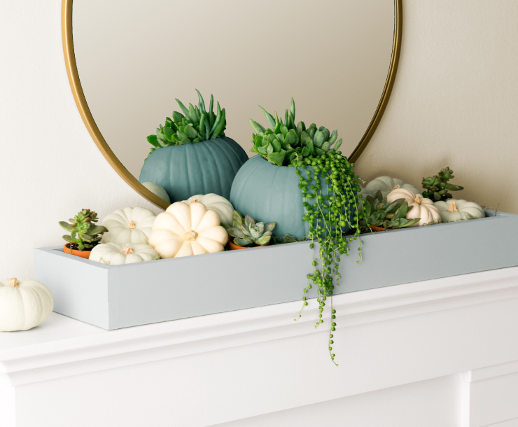 A tight view of the box sitting on the mantel in a room setting.