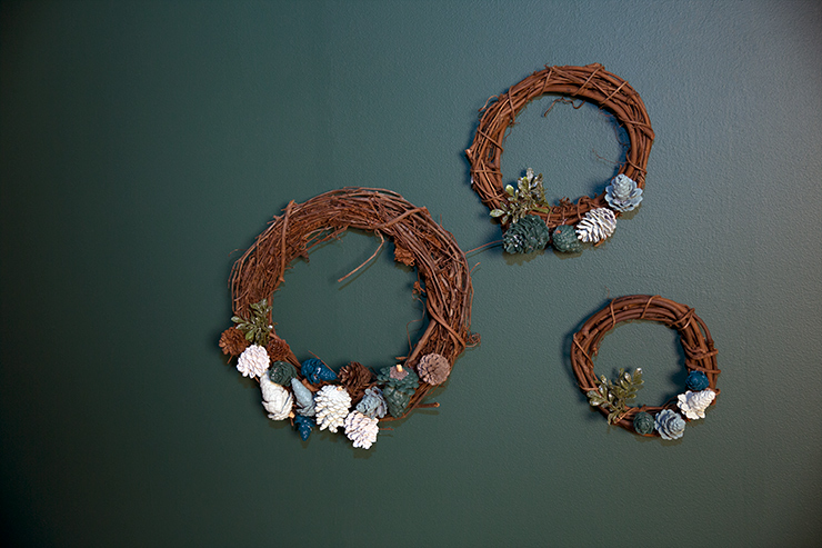 After each one is glued to the wreath then you can add in any extra embellishments.