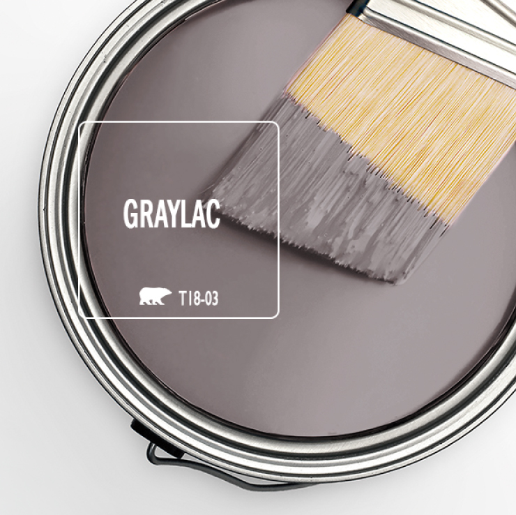 Paint Swatch - Open paint can with paint brush that was dipped showing paint color Graylac.