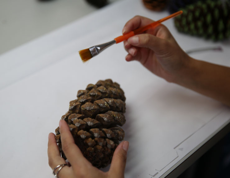 This image shows a pinecone being painted with a small paintbrush.