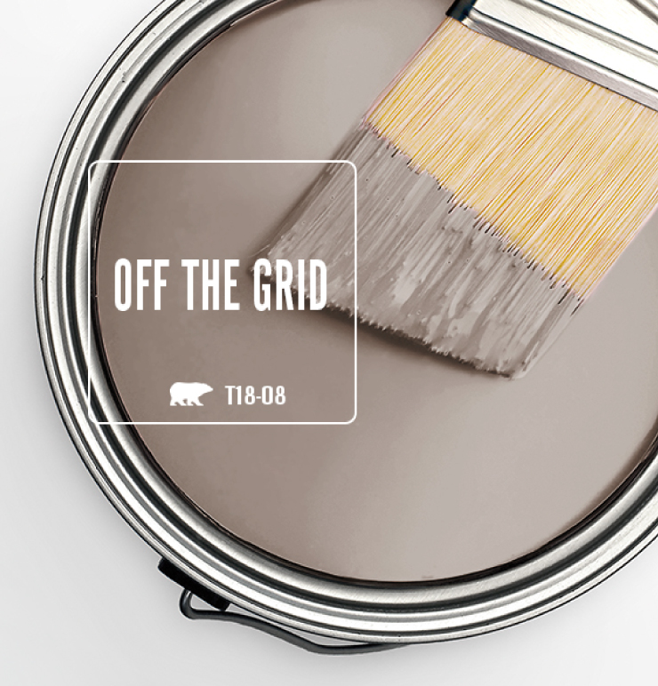 Paint Swatch - Open paint can with paint brush that was dipped showing paint color for Off the Grid (beige color).