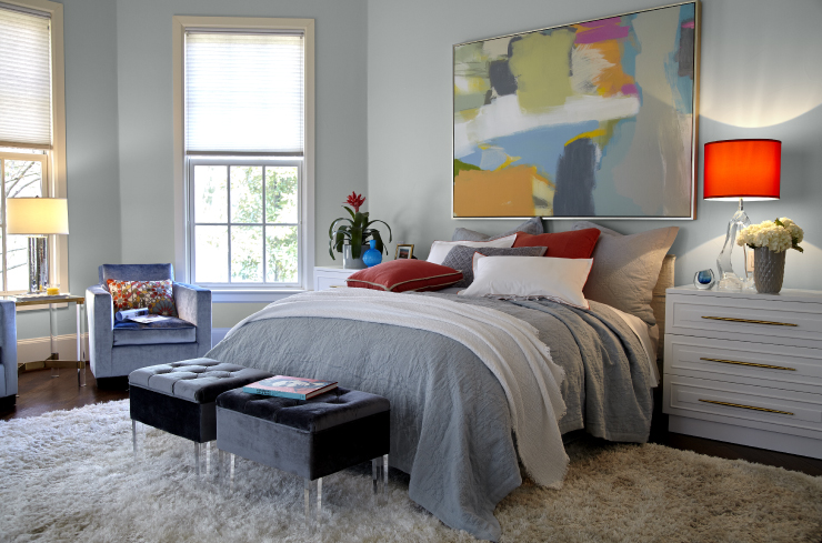 A bedroom with the walls painted in Quiet Time.