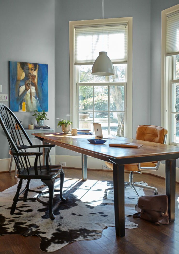 A home office with the walls painted in Quiet Time.