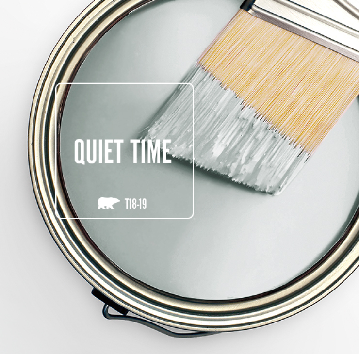 Paint Swatch - Open paint can with paint brush that was dipped showing paint color for Quiet Time (light gray color).