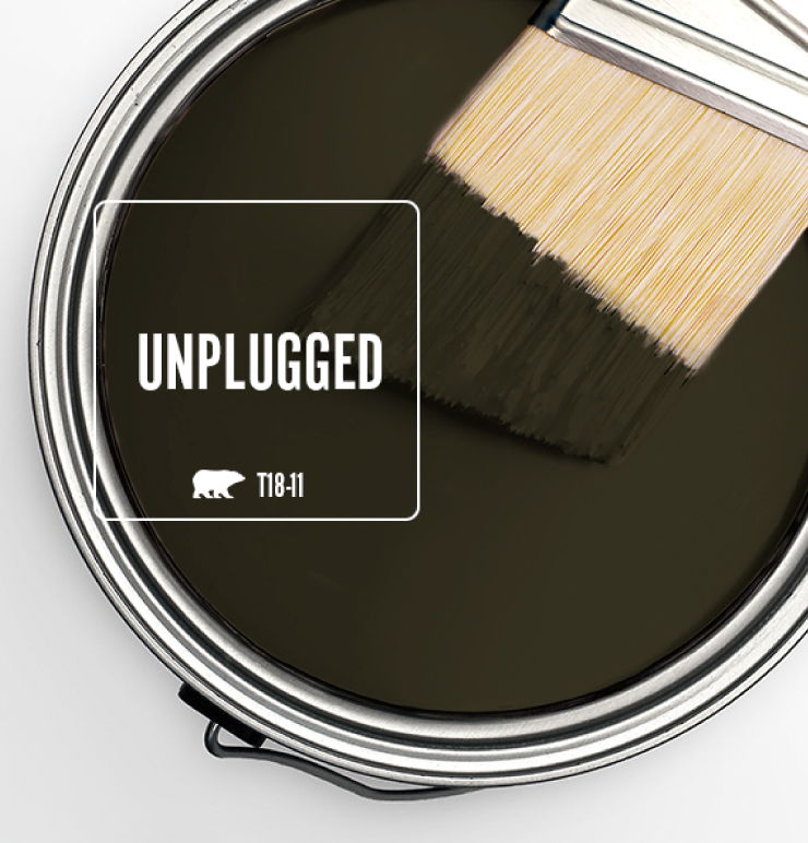 Paint Swatch - Open paint can with paint brush that was dipped showing paint color for Unplugged (dark brownish-green color).