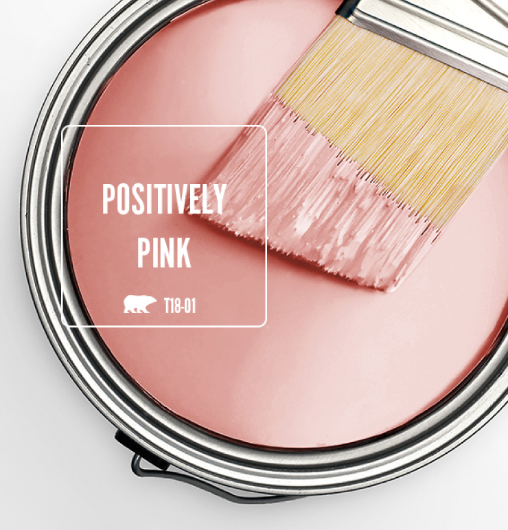 A top view of an open paint can, featuring a pink color called Positively Pink.