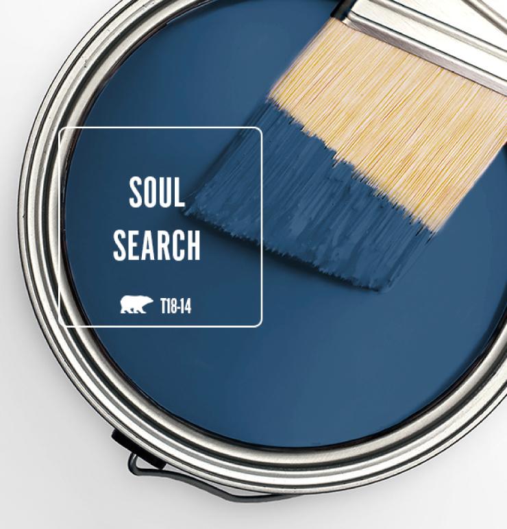 A top view of an open paint can showcasing blue wet paint.