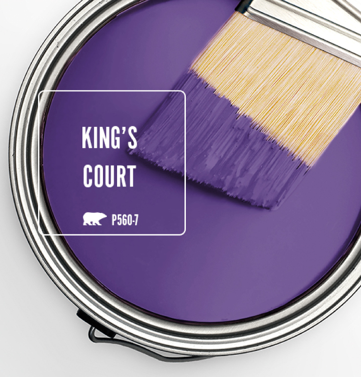 Paint Swatch - Open paint can with paint brush that was dipped showing paint color for King's Court (bold purple).