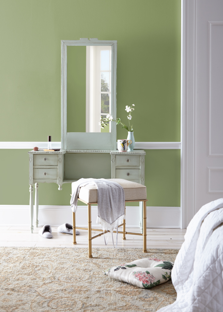 A bedroom vanity area with the walls painted in Nurturing.