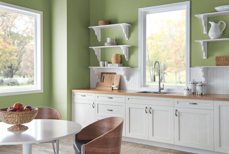 A kitchen with walls painted in Nurturing.