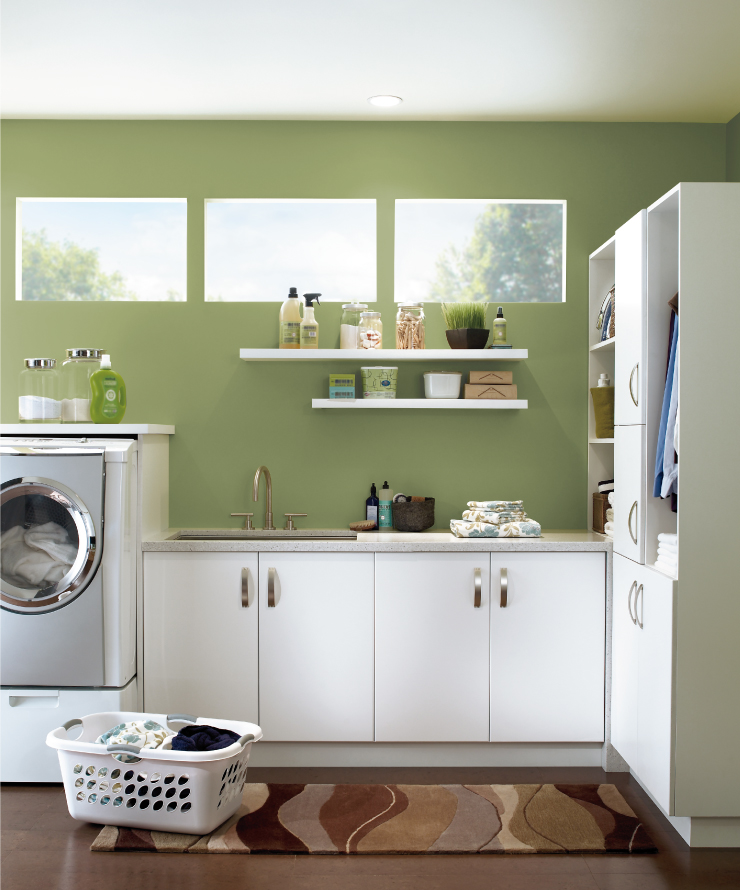 A laundry room with walls painted in Nurturing.