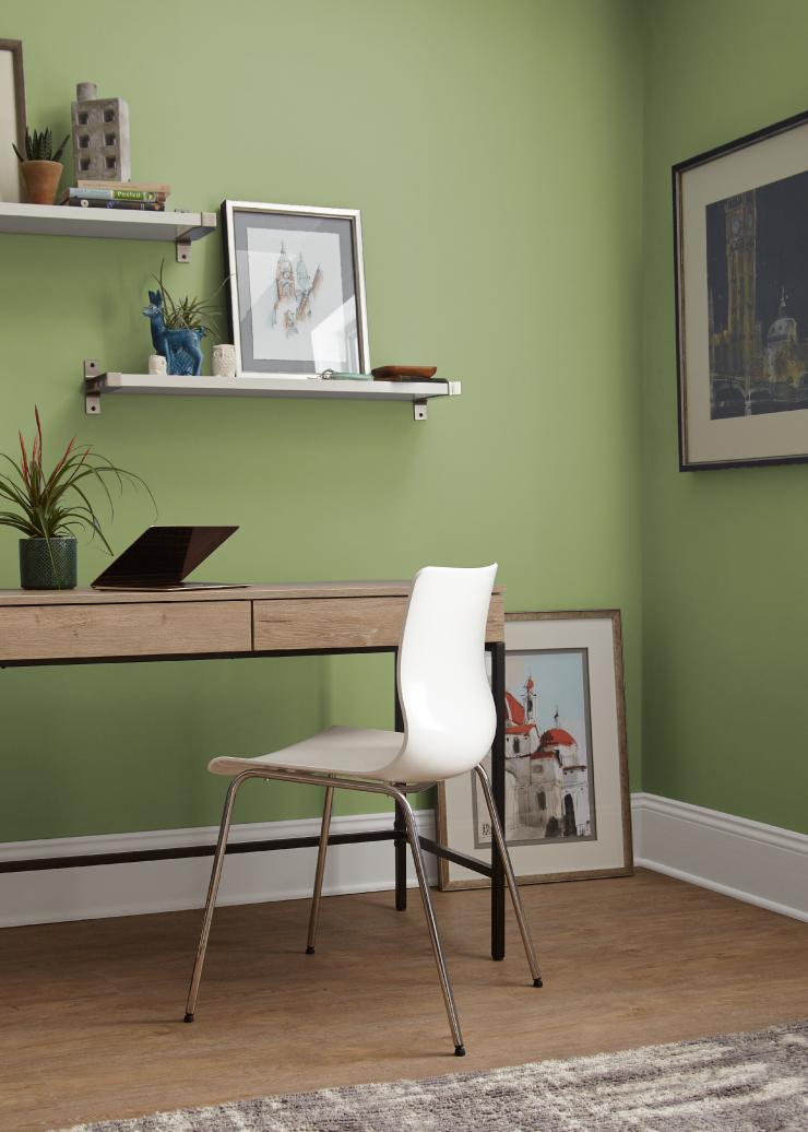 A home office with the walls painted in Nurturing.