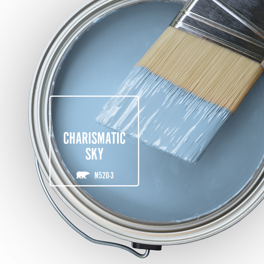 Paint Swatch - Open paint can with paint brush that was dipped showing paint color for Charismatic Sky.