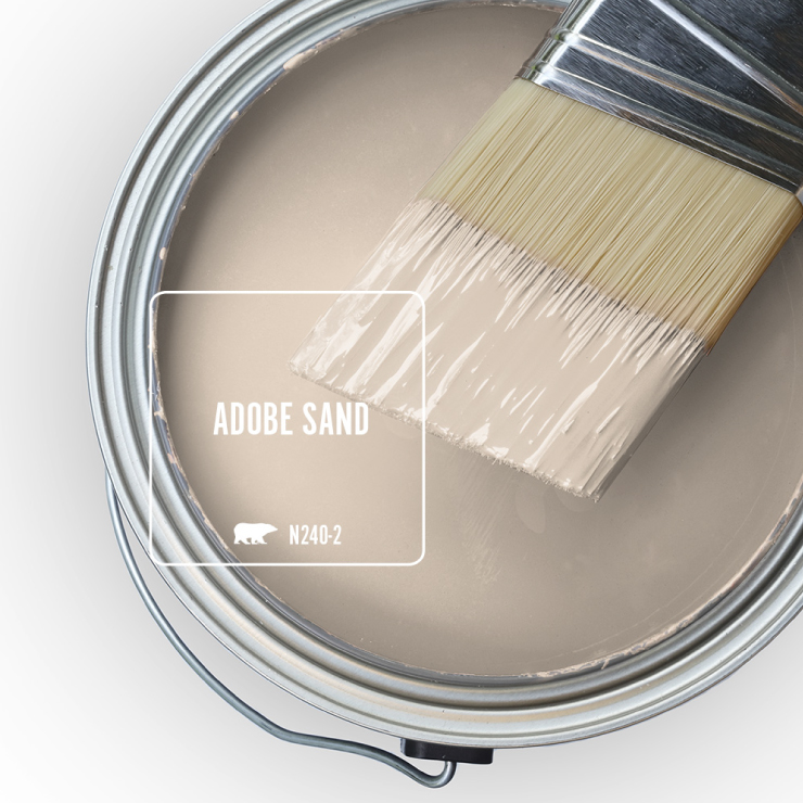 Paint Swatch - Open paint can with paint brush that was dipped showing paint color for Adobe Sand.