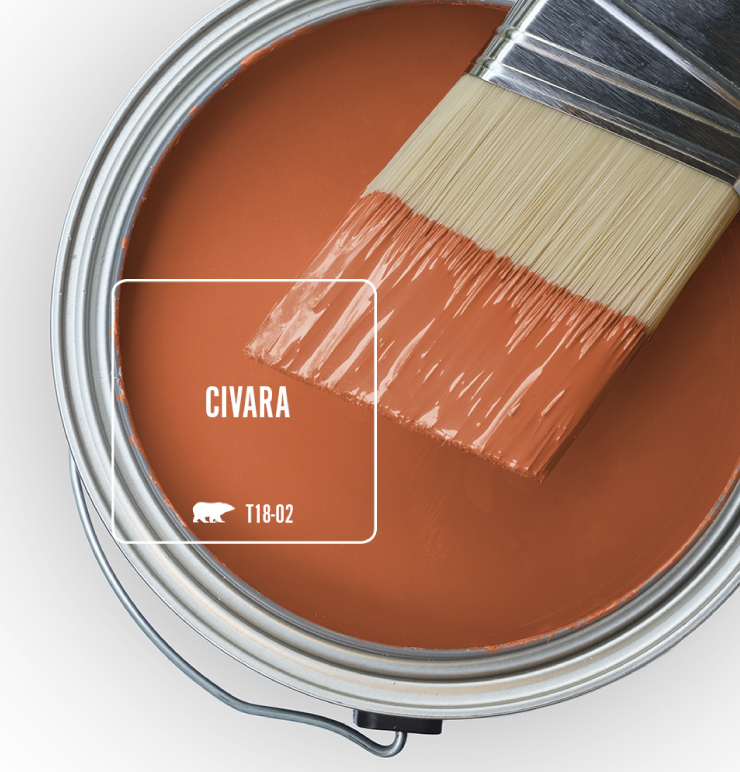 Paint Swatch - Open paint can with paint brush that was dipped showing paint color for Civara.