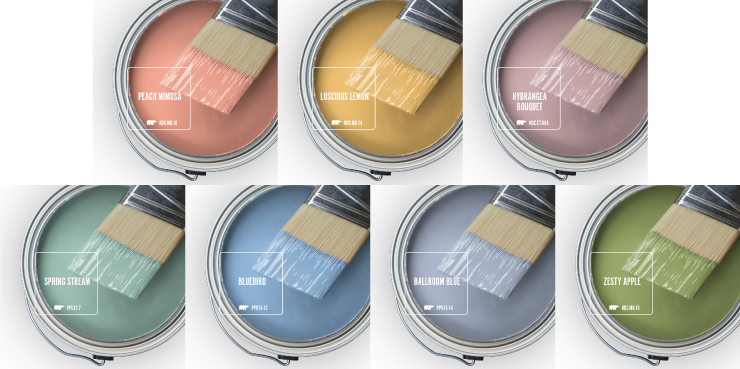 Paint Swatches - Open paint can with paint brush that was dipped showing paint colors for: Peach Mimosa, Luscious Lemon, Hydrangea Bouquet, Spring Stream, Bluebird, Ballroom Blue, and Zesty Apple.