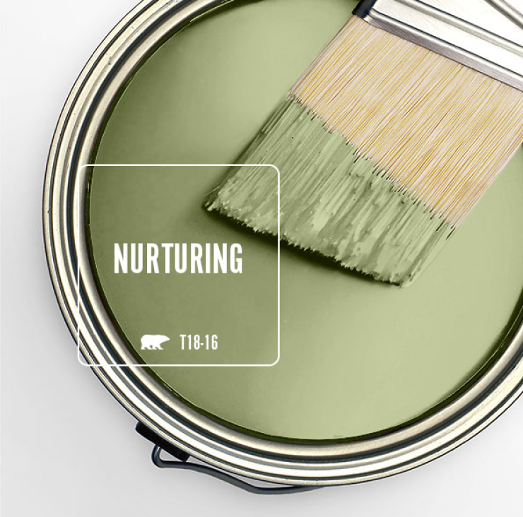 Paint Swatch - Open paint can with paint brush that was dipped showing paint color for Nurturing.