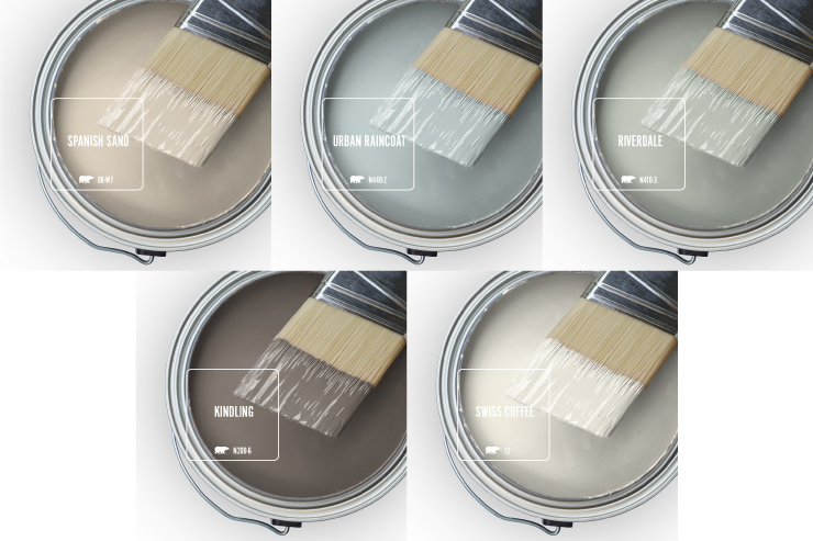Paint Swatches - Open paint can with paint brush that was dipped showing paint colors for: Spanish Sand, Urban Raincoat, Riverdale, Kindling, Swiss Coffee.