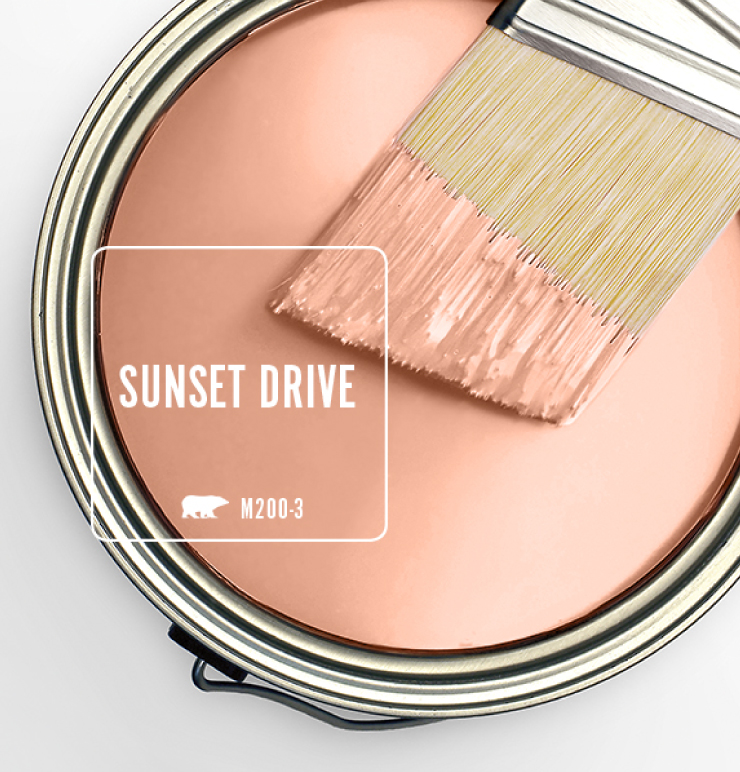 Paint Swatch - Open paint can with paint brush that was dipped showing paint color for Sunset Drive.