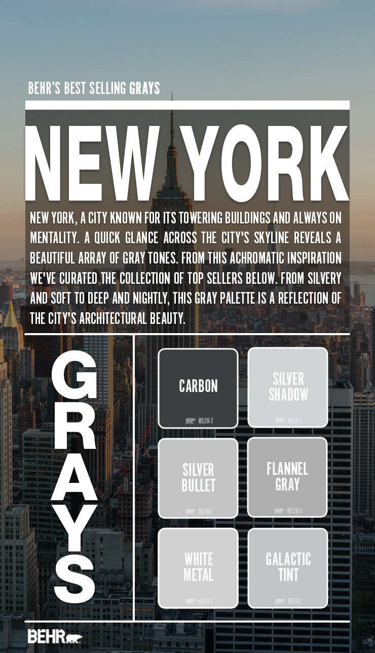 New York's city skylight and six color boxes featuring New York's best selling gray paint colors.