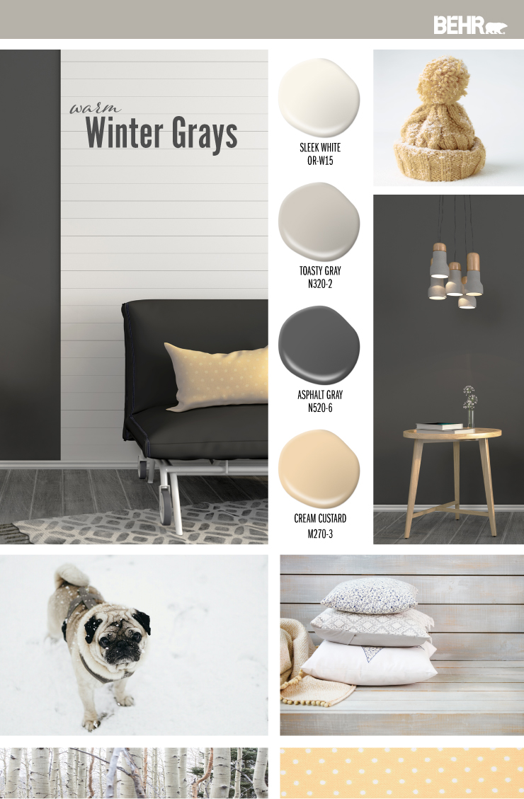 Inspiration board featuring four paint drops: Sleek White (white), Toasty Gray (gray), Asphalt Gray (dark gray), Cream Custard (yellow) Images shown are the following: -A living room with walls painted in Sleek White and Asphalt Gray. -Yellow hat with snow on it. -Side table sitting against a wall painted in Asphalt Gray. -Dog in the snow. -Bench painted in Toasted Gray. White and gray pillows placed on the bench.