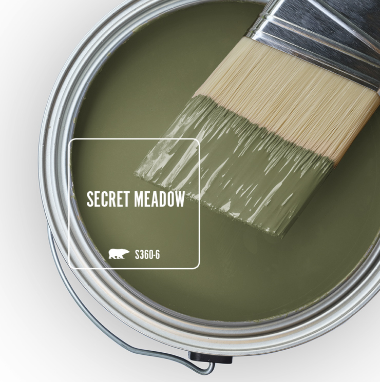 Paint Swatch - Open paint can with paint brush that was dipped showing paint color for Secret Meadow.