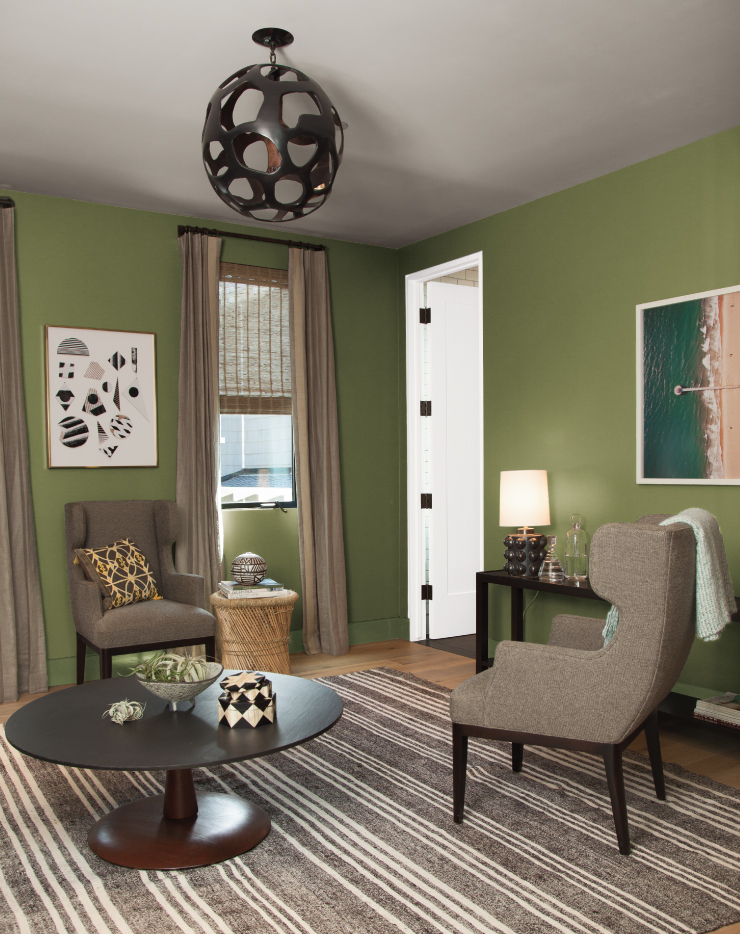 A living room area with walls paint in Secret Meadow.