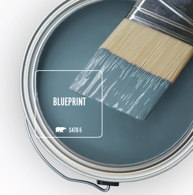 Paint Swatch - Open paint can with paint brush that was dipped showing paint color for Blueprint.