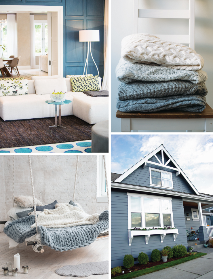 A collage of four images representing the color Blueprint. A living room with a door to a cabinet painted in Blueprint.  A pile of blue and white sweaters. An outdoor hammock swing with cozy blankets colored in blue and white. An exterior home painted in Blueprint.
