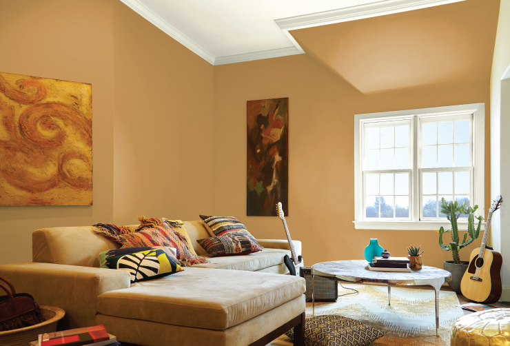 A living room painted in Amber Autumn.