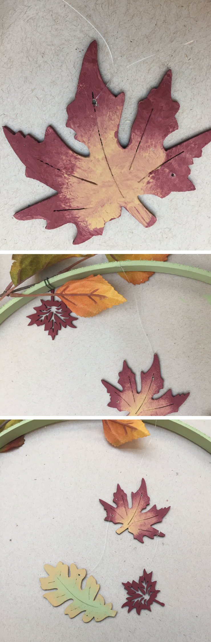Three images showing: First image - the leaf with a whole in it.  Second image - Adding string to the leaf and adding it to the hoop. Third image: Adding string to the rest of the leaves.