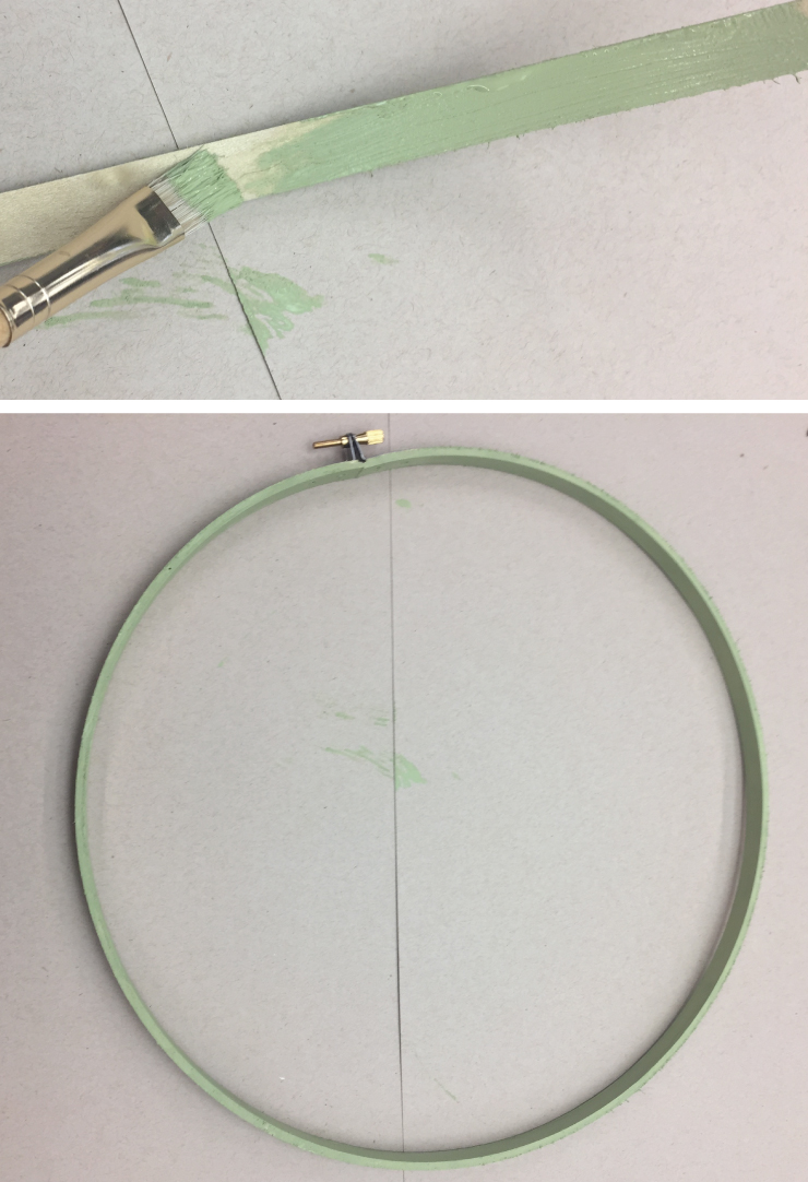 Two pictures showing the steps in creating the wreath hoop. First is a person painting the embroidery hoop in a green color.  Second is bending the embroidery hoop into a circle.