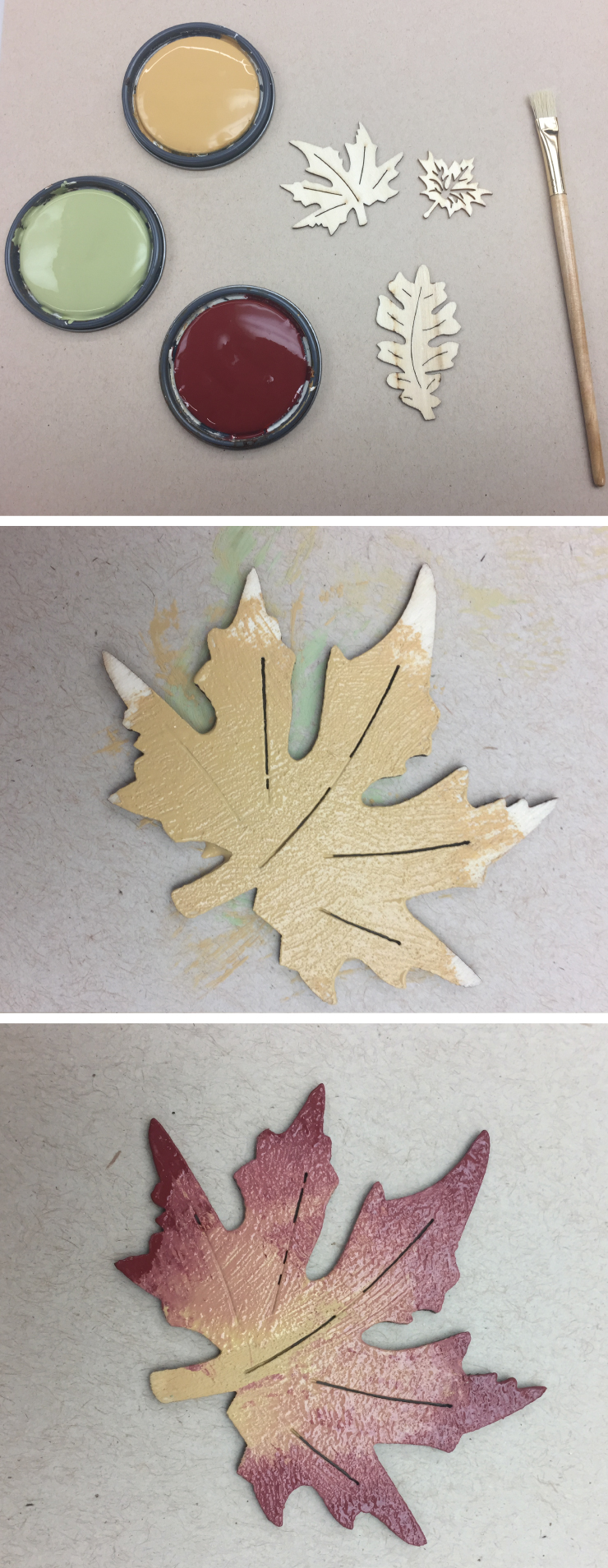 Three pictures showing the steps for painting the wood leaves. First picture shows yellow, green and red paint, wood leaves and small paint brush. Second picture shows one leave with yellow in the center Third picture shows same yellow leaf with red paint added. The red is darker on the edges and lighter as it meets the yellow color