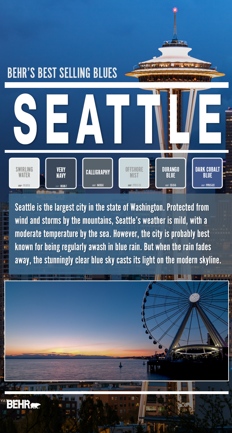 Two beautiful vistas of Seattle's landmarks.   Six different color box showcasing popular blue colors in Seattle Washington area.