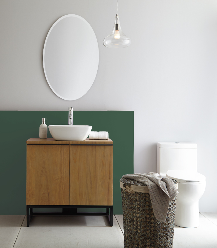 A bathroom with section behind the sink painted in Vine Leaf.