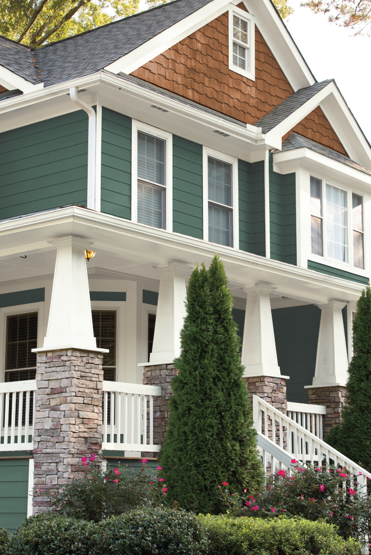 An exterior home paint in Vine Leaf.