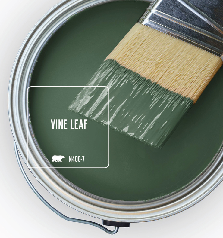 Paint Swatch - Open paint can with paint brush that was dipped showing paint color for Vine Leaf.