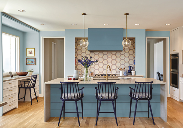 A kitchen with blue accents. The main walls are painted in Watery.