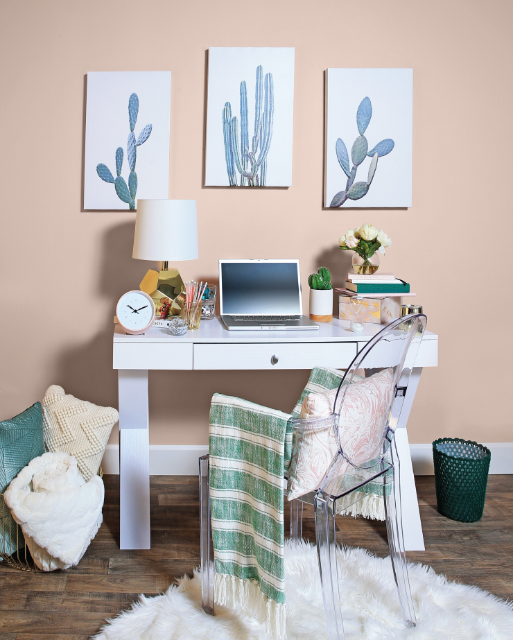 Home office showcasing our color Sand Dance. Sand Dance is complimented by white and green accents.
